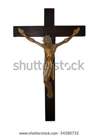 Brass Cricifix on Wooden Cross isolated with clipping path - stock photo