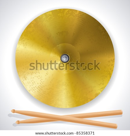 brass cymbals and drumsticks - raster version - stock photo