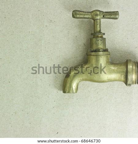 Brass faucet. - stock photo