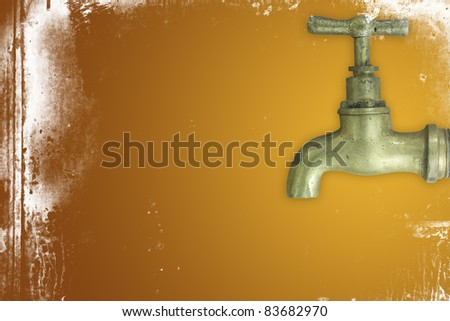 Brass faucet. - stock photo