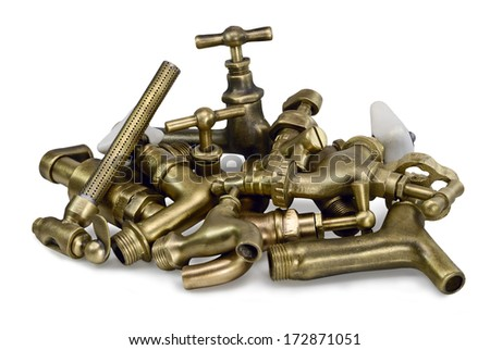 brass faucet isolated on white background  - stock photo
