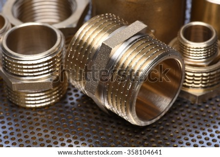 Brass Fittings for Water and Gas - stock photo