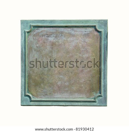 Brass frame at the old plaque. Bronze name plate - metal blank at the grunge signboard, isolated on white background. - stock photo