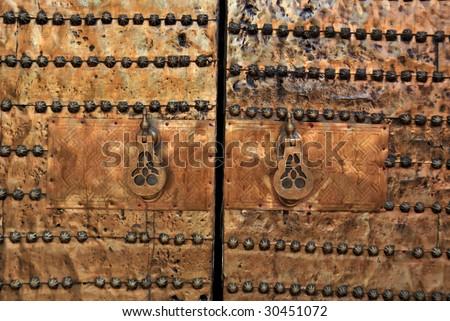 Brass gate in the medina of Marrakesh, Morocco - stock photo