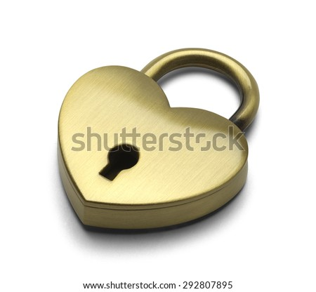 Brass Heart Isolated on a White Background. - stock photo