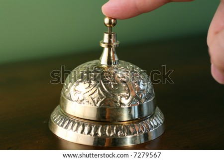 Brass Hotel Bell - stock photo