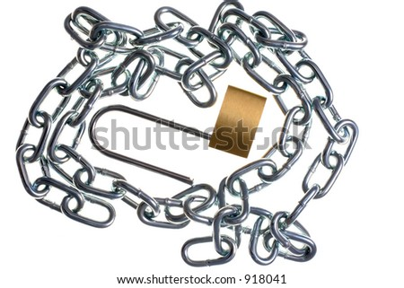 Brass lock and chain.