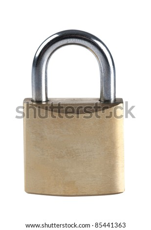 Brass Lock isolated on white - stock photo