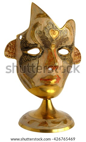 Brass mask isolated on white background                                - stock photo