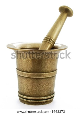 Brass Mortar and Pestle - isolated on white