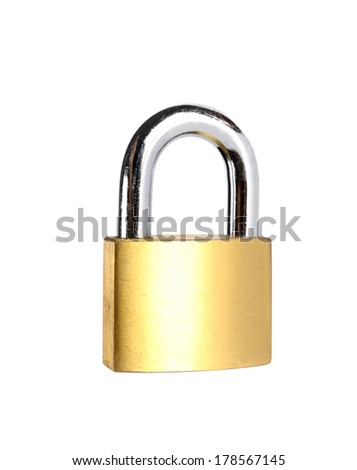 brass padlock and chain isolated on white backgound - stock photo