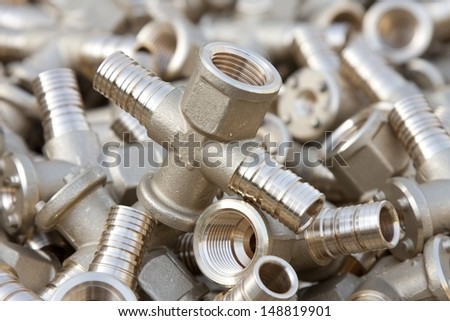 brass parts  - stock photo