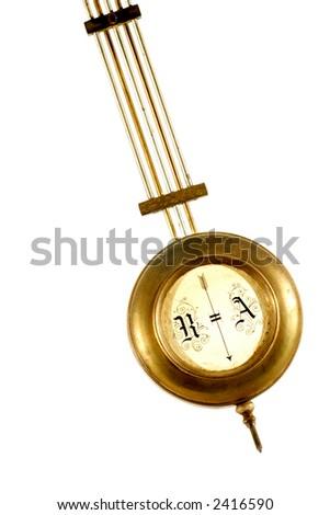 brass pendulum of old clock isolated on white background - stock photo