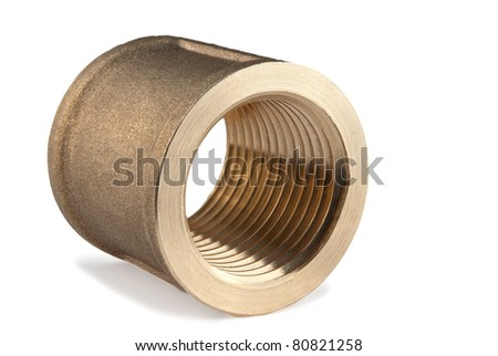 brass pipe coupling isolated on a white background - stock photo