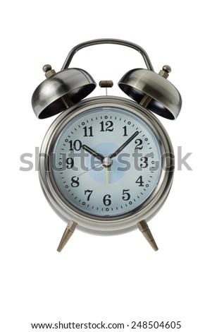 Brass Retro Alarm Clock isolated on white background with clipping path - stock photo