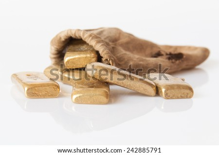 brass rods isolated on white background