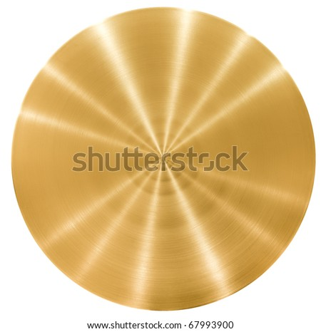 Brass round metal plate or disk - stock photo