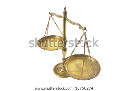 Brass Scale on Isolated White Background - stock photo