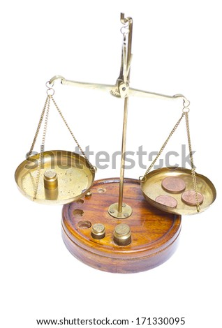 Brass scales of justice. - stock photo