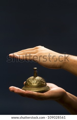 Brass Service Bell. - stock photo