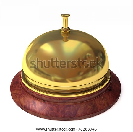 Brass service bell with wooden base isolated on a white background