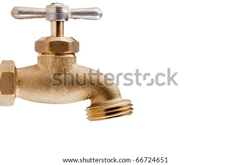 Brass Technical faucet with a shut-off valve and the ability to connect the hose to it for irrigation - stock photo
