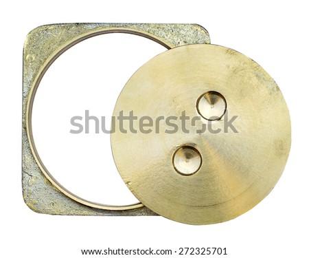 Brass toilet lid on white background - stock photo