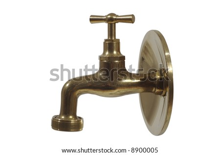 brass water tap - stock photo