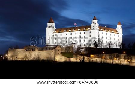 Brastilava castle at twilight - stock photo
