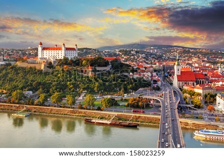 Bratislava at sunset - aerial view, Slovakia - stock photo