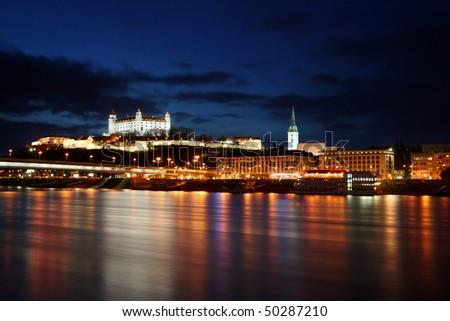 Bratislava at twilght - stock photo