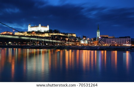 Bratislava at twilght - stock photo