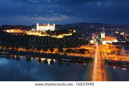 Bratislava at twilght from new bridge - stock photo