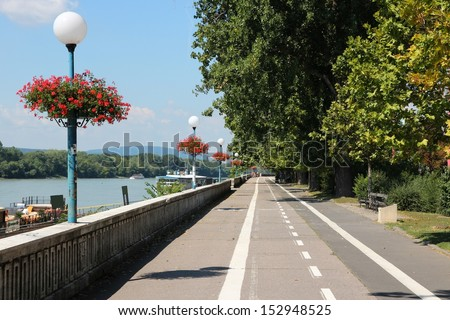 Bratislava, capital city of Slovakia. Danube river waterfront - cycling path along embankment. - stock photo