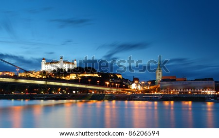 Bratislava castle and bridge - Slovakia - stock photo