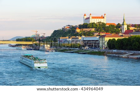 Bratislava castle and Danube river in Bratislava, capital city of Slovakia - stock photo