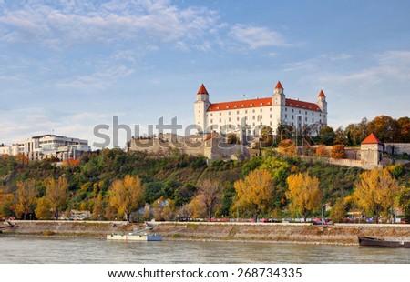 Bratislava castle at autumn, Slovakia - stock photo