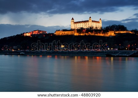 Bratislava castle at dusk - stock photo