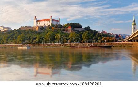 Bratislava castle at evening, Slovakia - stock photo