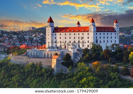 Bratislava castle at sunset - stock photo