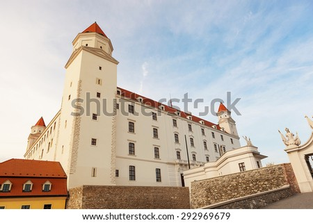 Bratislava castle in Slovakia, Eastern Europe on sunny evening. - stock photo