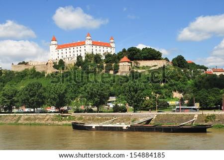 Bratislava Castle on Danube, Slovakia - stock photo