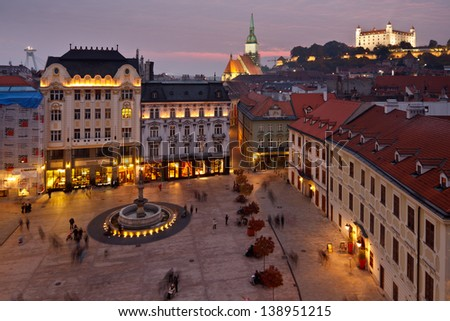 Bratislava castle, St. Martin's cathedral, new bridge, Main square Rolland's fountain and other historical buildings of the old town in Bratislava, Slovakia - stock photo