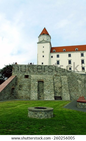 Bratislava castle: well, the brick wall and tower