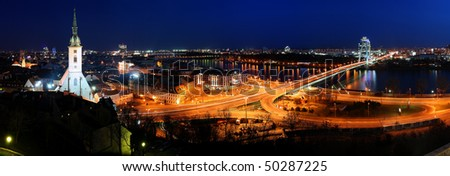 Bratislava cityspace - panorama from castle - stock photo