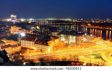 Bratislava cityspace - panorama from castle - Slovakia - stock photo