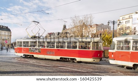BRATISLAVA - NOV 12 : Tram running through the historic district, on November 12, 2010 in Bratislava, Slovakia. Slovakia is advanced economy with one of the fastest growth rates in the European Union.