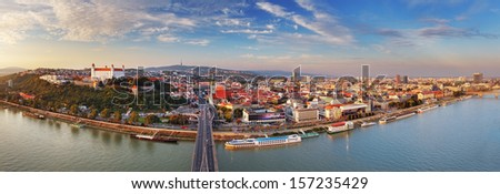 Bratislava panorama at a day in Slovakia - stock photo