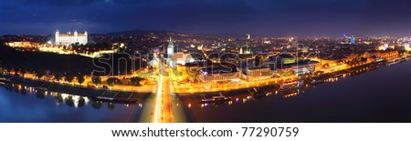 Bratislava panorama at night from new bridge - stock photo