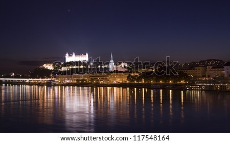 Bratislava panorama at night. In background is the castle and old town.